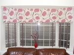 Bay Roman blinds with wood venetian